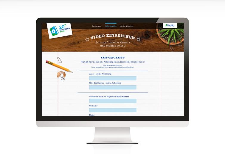 Thalia 20 Sekunden Buch Website Design